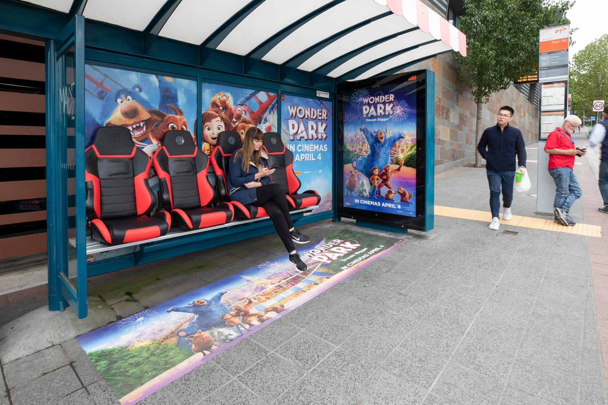 Wonder Park street furniture advertising panel on bus shelter