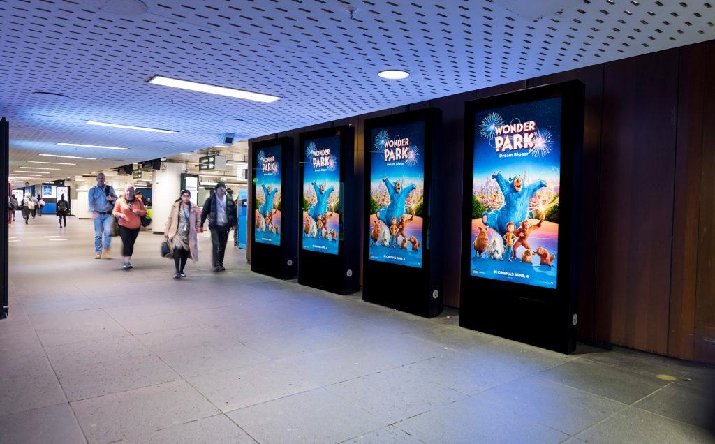 Wonder Park rail advertising panel in train station