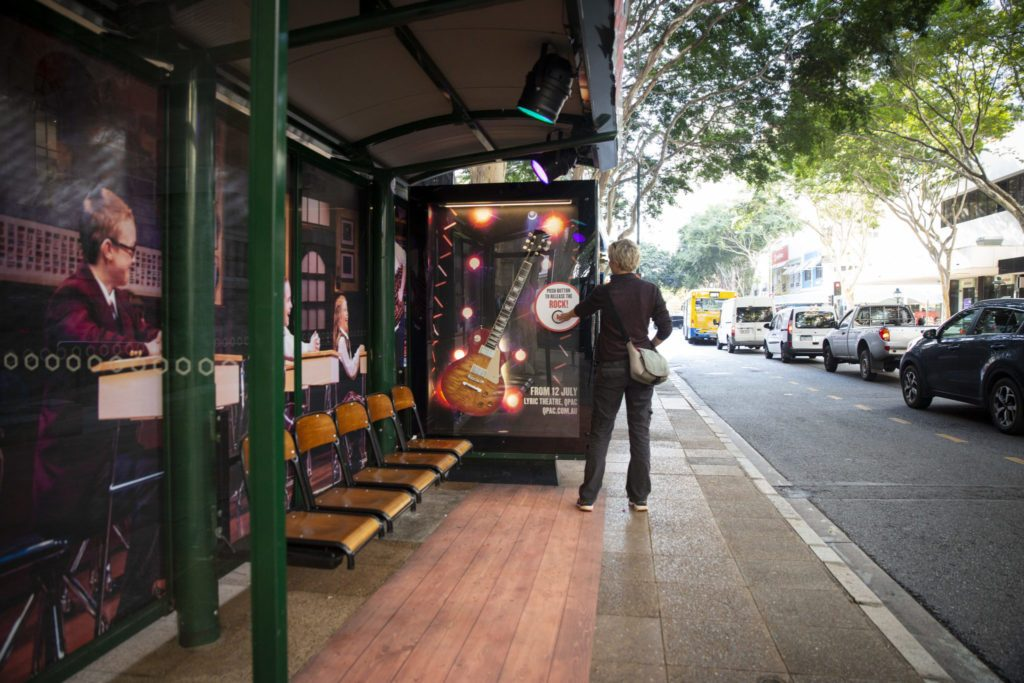 School of Rock interactive street furniture advertising on bus shelter