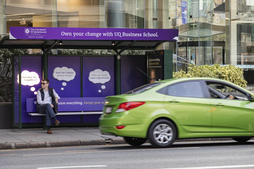 University of Queensland street furniture advertising on bus shelter
