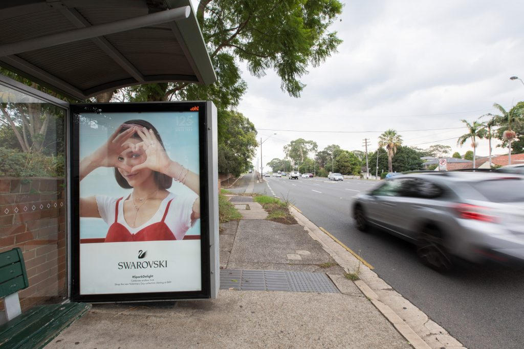 Swarovski street furniture advertising on bus shelter