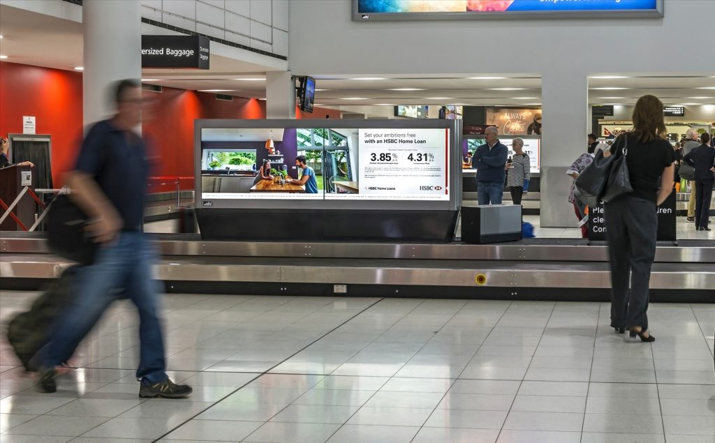 HSBC fly advertising in airport