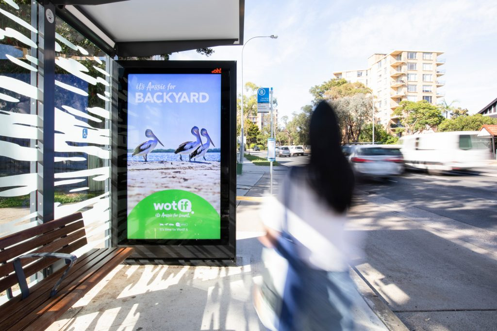 Wotif street furniture advertising on bus shelter