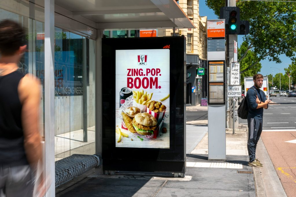 KFC street furniture advertising on bus shelter