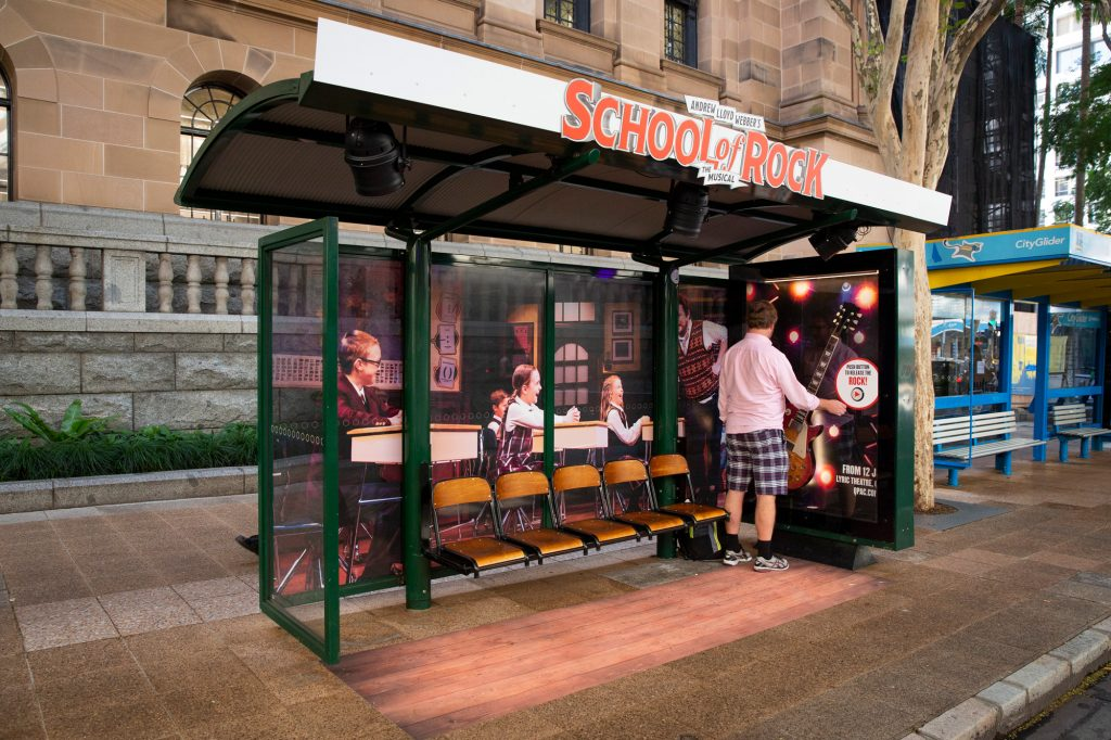 School of Rock street furniture advertising on bus shelter
