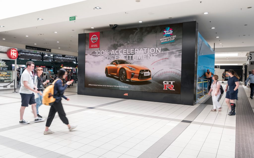 Nissan rail advertising in train station