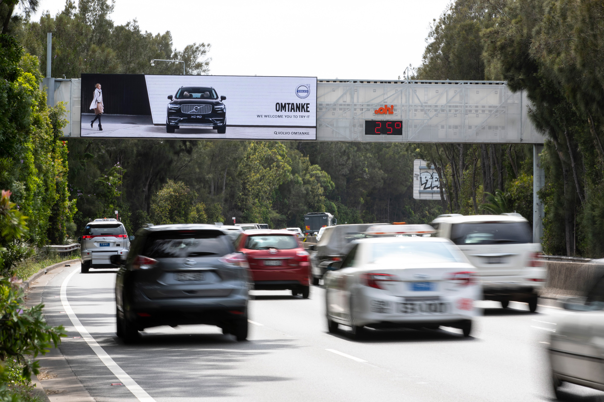 Volvo billboard advertising on road