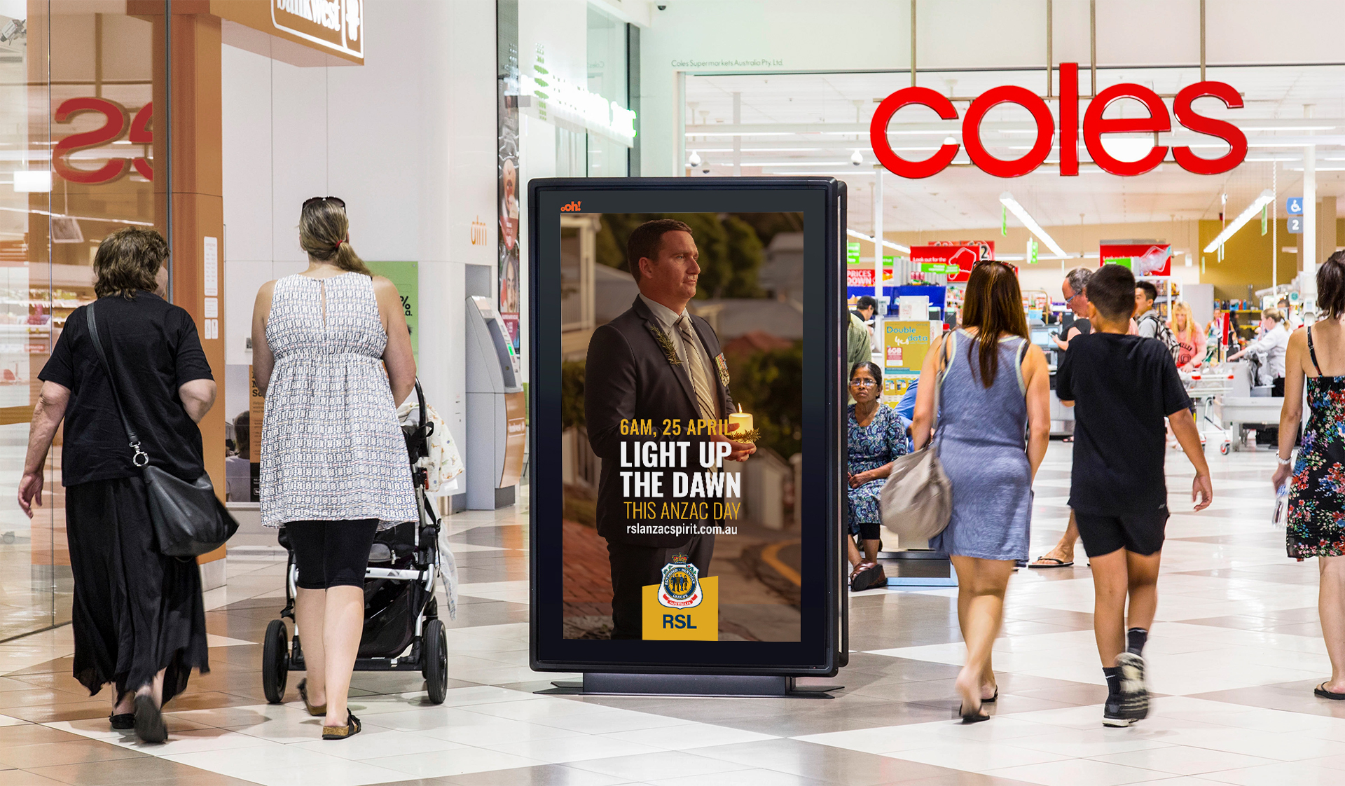 Anzac retail advertising in shopping centre